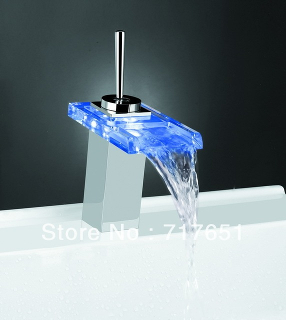 NEW!!3 Color Trapezoid Glass LED Waterfall Faucet Mixer Tap for Kitchen Bathroom