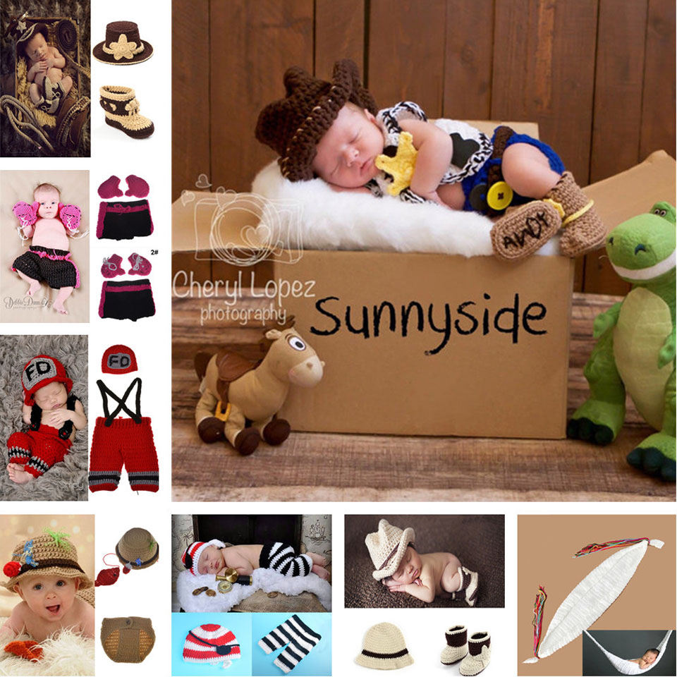 Lasted Baby Photo Props Cool Cowboy Style Newborn Baby \Props Baby Beanie+Shoes Set Hand Knit Photopgraphy Prop 1pc MZS-15066(China (Mainland))