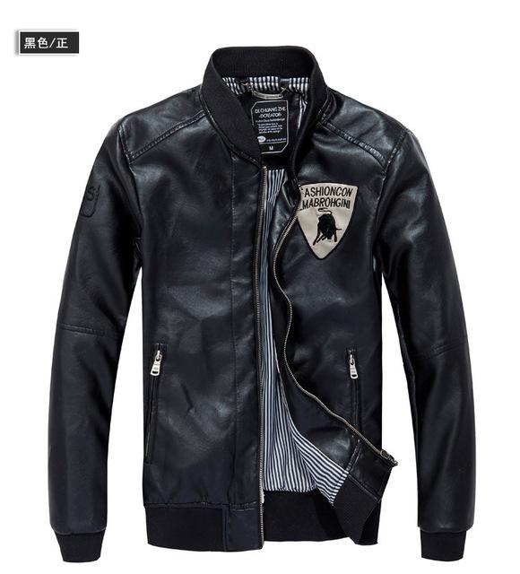 2013 hot men's leather jacket long sleeve short pilot leather jackets for men motorbiker jacket slim fit coats & jackets FLM002
