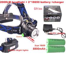 2000LM headlight bike led lamp  XM-L T6 led rechargeable  Headlight ledlamp lights +2x 8800mah 18650 battery +Charger(China (Mainland))