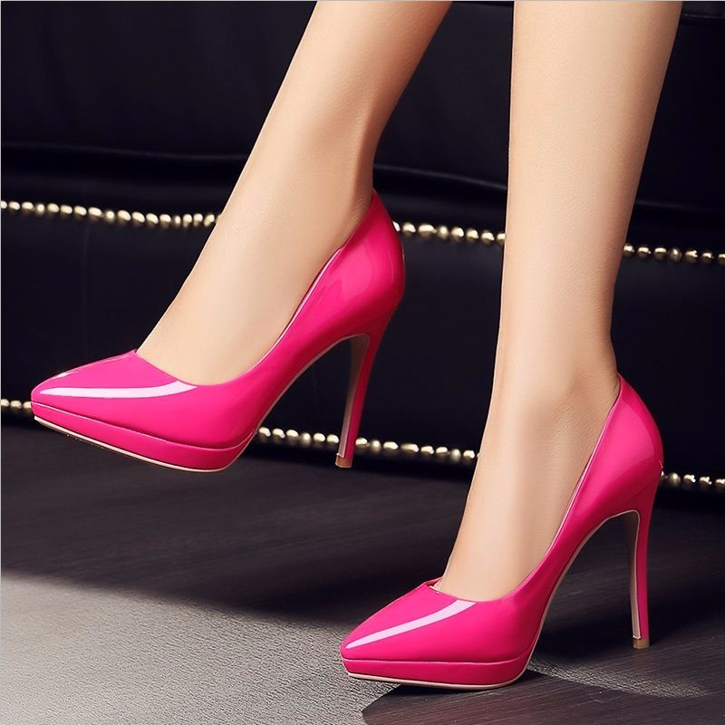 Patent High Heels Concise Women Pumps Stilleto Sexy Pointed Toe Platform Shoes Woman Bride Wedding Shoes Women Shoes