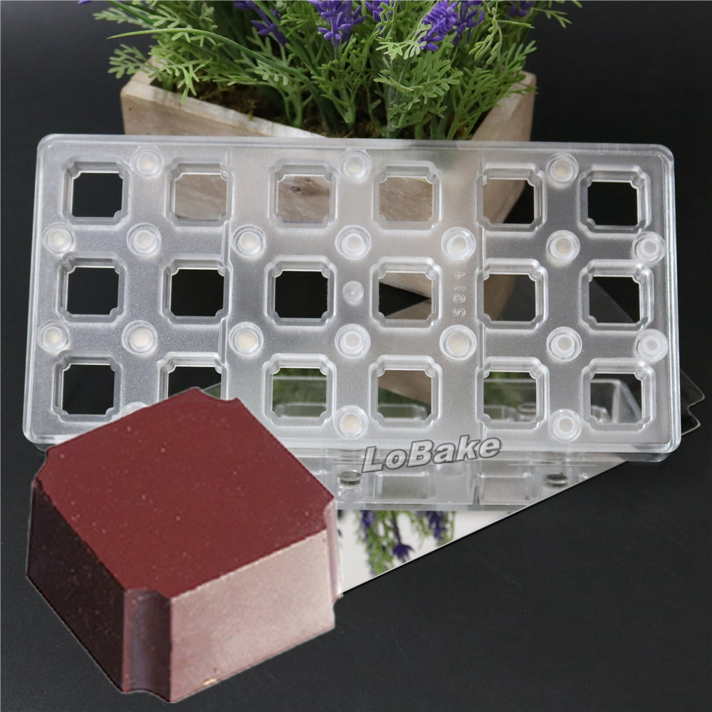 18 cavities high quality square cube shape PC magnetic transfer moulds DIY cake candy moldes para reposteria cooking accessories(China (Mainland))