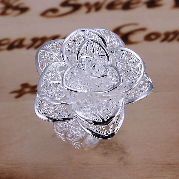 Fashion jewelry Free shipping 925 sterling silver ring O Women nice big flower ring Opend top Quality jewelry wholesale R116(China (Mainland))
