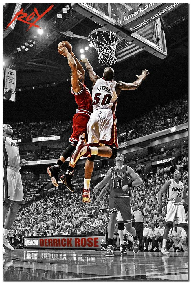 Derrick Rose Chicago Bulls MVP Basketball Star Silk Poster 24x36 inch(China (Mainland))