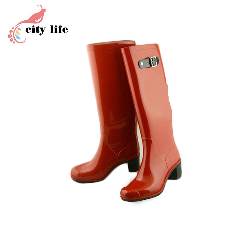 Фотография Red Europe Fashion Grain Rubber Waders Rain Boots Women Watershoes Wellies Knee-High Rainboots ize 40