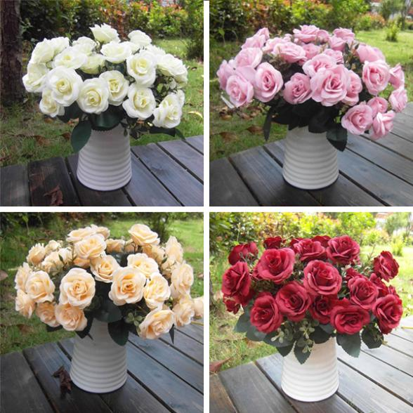 Free Shipping Artificial False Rose Silk Flowers 12 Flower Head Wedding Garden Decor DIY Hot New(China (Mainland))
