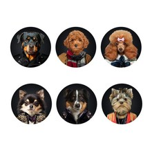 6 Pcs/Set Home Table Cup Mat Creative Decor Coffee Drink Placemat Cute Animal Dog Printing Drinks Coasters Felt Dinner Placemats(China (Mainland))