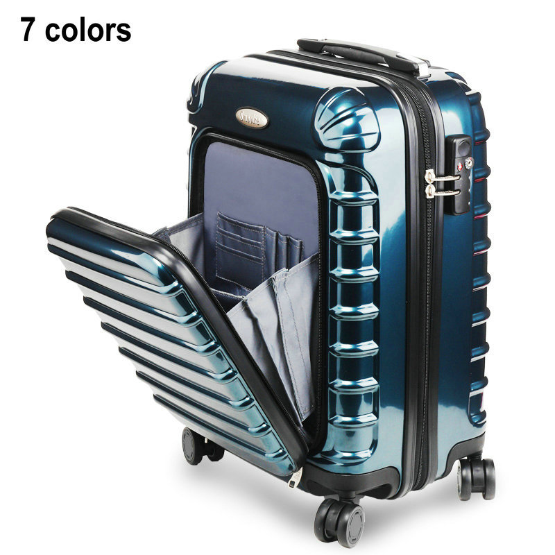 2014 New High Quality Trolley Luggage Travel Suitcase PC Material Universal Wheels Luggage 20