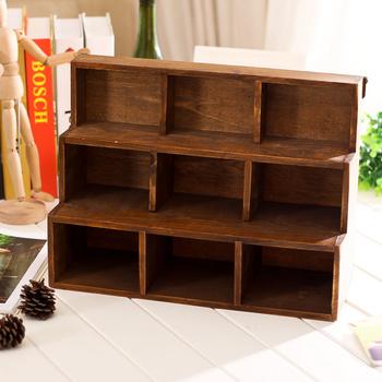 Zakka 1958 Trapezoidal Wood  Storage Cabinet Box 9 Section