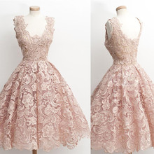 NEW Real Picture Lace show A-Line V-Neck Lace Vintage Cocktail Dress 2016 party dresses prom dress(China (Mainland))