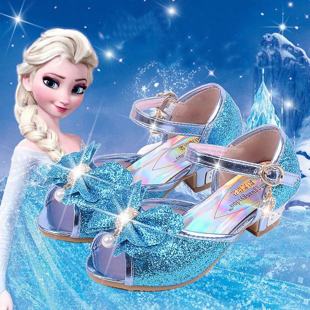 Новое прибытие эльза сандалии 2016 летом голова рыбы принцесса обувь девушки снежная ...
