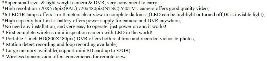 TE810HB Headset 520TVL Wireless Inspection Endoscope with Monitor HD DVR Recorder for Pipe Chimney