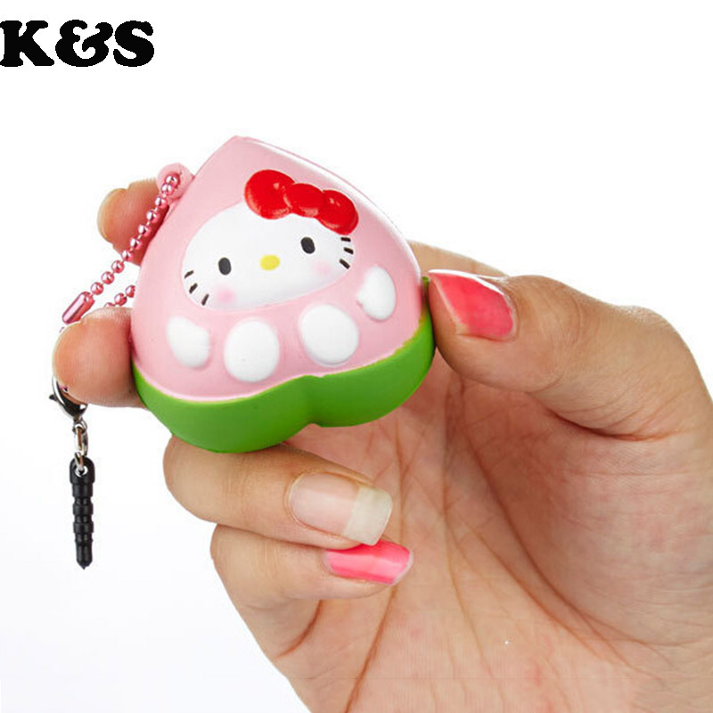 2015 new original package rare honey peach squishy Scented hello kitty Squishy cell phohe Strap ...