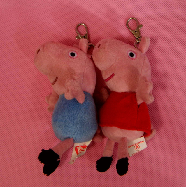 "New Arrival 2013 Brand New  Peppa Pig &George Pig Keychain Plush Toy 5"" Free Shipping"