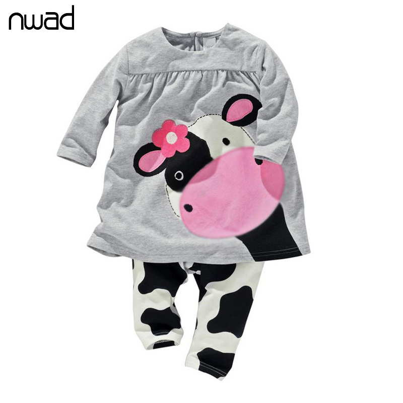 2016 Hot Sale Lovely Newborn Clothing For Baby Girl Cow Print Clothes Set Baby Kids Outfit Long Sleeved T-shirt+Pants Suit FF076(China (Mainland))