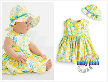 2015 baby hat + dress suit children (0-24 months) baby girl clothes Kids Set Free Shipping(China (Mainland))