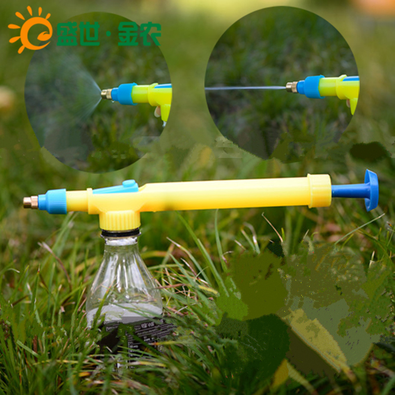 Manual pressure brass mist nozzle plastic low pressure misting nozzles then lever the gun sprayer bottles, yellow(China (Mainland))