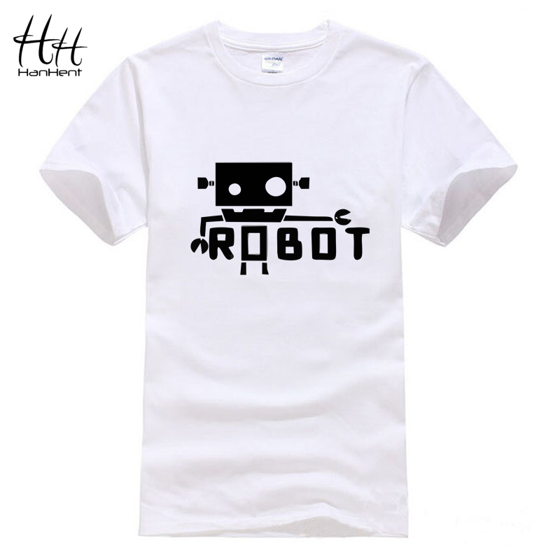 HanHent Creative Robot Android Funny T Shirts Male Fashion Short Sleeve Spoof Geek T-Shirt Unique Letters Printed Tees S-XXL(China (Mainland))