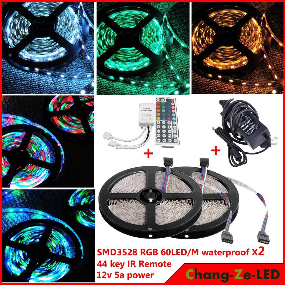 High quality! 10m 300 LED rgb 3528 SMD waterproof 12V flexible light 60 led/m, LED strip, + 44 key IR Remote + 12V 5A power(China (Mainland))
