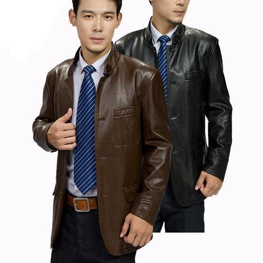 The new men's faux sheep leather men standing collar leather jacket black / brown buttons 2012 free shipping GLM005