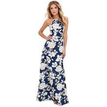 מקסי ארוך שמלת 2019 קיץ שמלות נשים פרחוני הדפסת Boho שמלה בתוספת גודל 5XL שרוולים חוף חג שמלת כתפיות נשי שמלות(China)