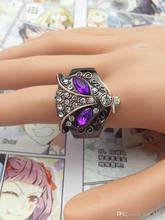 100 unids/lote para mujer reloj de cuarzo con la cabeza del zorro la cubierta de concha dedo del reloj del anillo pulsera de acero swj012