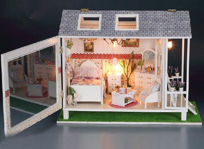 Beach huts wooden dollhouse miniature house model diy kit for Model beach huts