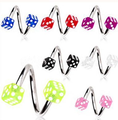 free shipping acrylic dice spiral twister rings tragus ring lip ring nose ring earring labret. Black Bedroom Furniture Sets. Home Design Ideas