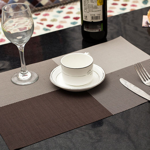 Free Shipping Home Decor Kitchen Dining Placemat Chequer Pane Cage PVC Weave Table Mat 2015 New Arrival Promotion(China (Mainland))
