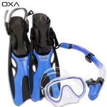 OXA Adult Adjustable Diving Long Fins Snorkeling Foot Flippers Swimming Scuba Diving Mask Snorkel Set Dive Fins