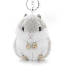 Dalaful Hamster Mini Chaveiros Chaveiros Faux Rabbit Fur Pompom Fofo Bugigangas Carro Bolsa Pingente Chaveiro Anel Titular K356(China)