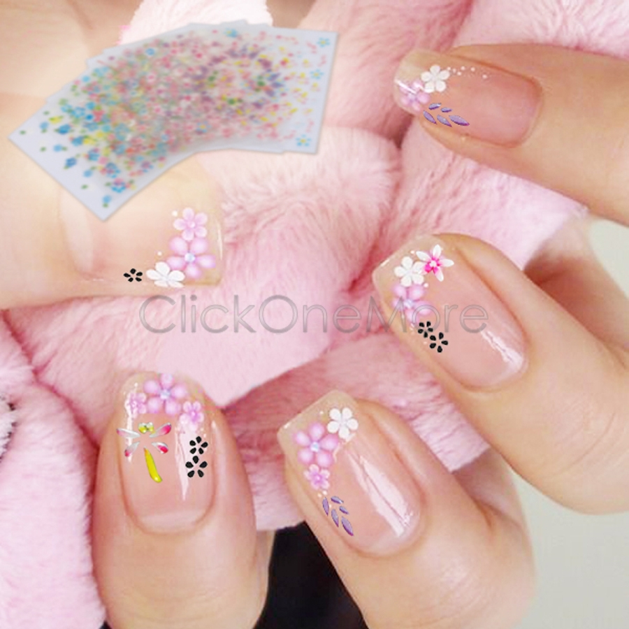 10Pcs 3D Nail Art Tips Design Manicure Stickers Mix Flower Decals Pro Style #1 5509890(China (Mainland))