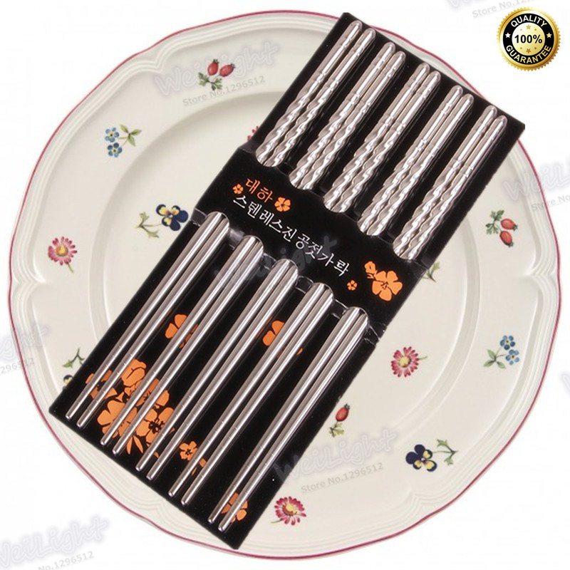 Mildew Proof Durable hollow stainless steel Japanese Chopsticks Set Value Gift(China (Mainland))