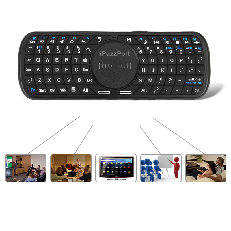 Hot Pazzport Wireless Keyboard Led 2.4G Air Mouse Touchpad Multi-touch for Google TV/Android/SmartTV/PC Remote -Multi-Languange(China (Mainland))
