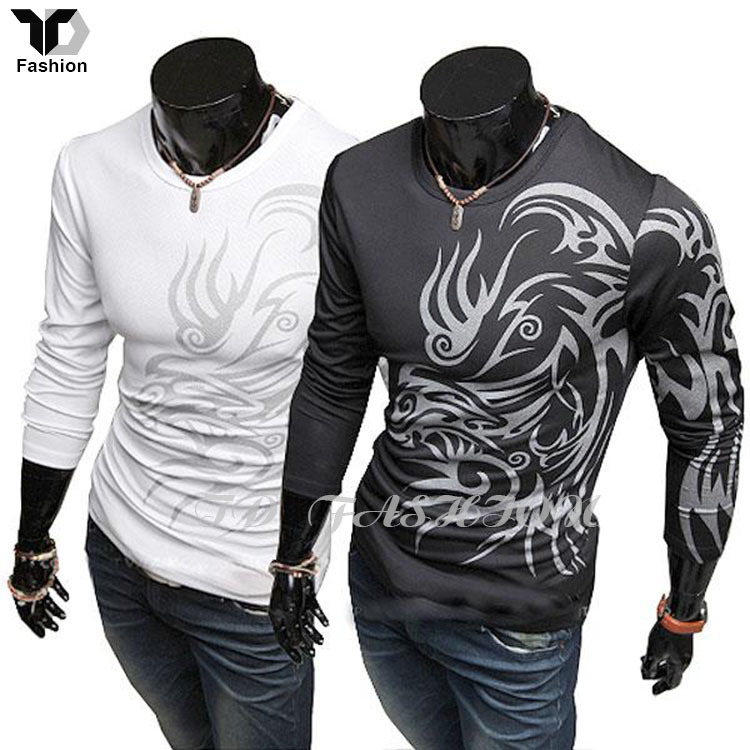 Brand Autumn Men Clothes Sport Tops,Dragon Totem Tattoo Long Sleeve t-shirt for men Cotton Blend tshirt XXXL,roupas masculinas(China (Mainland))