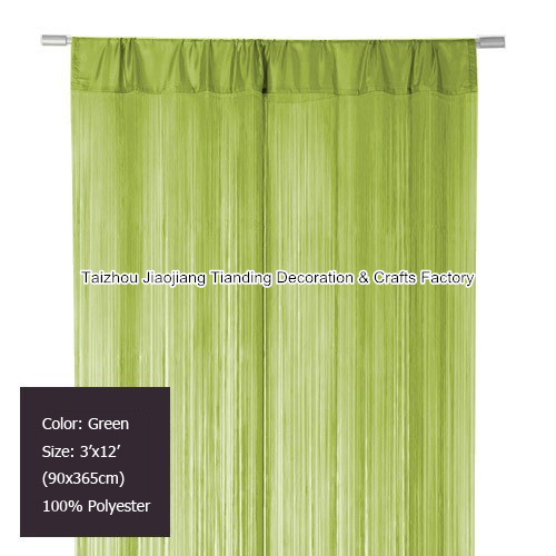 6pcs/Lot, 3'x12' (90x365cm)Polyester Fringe curtain panel Green for room divider and wedding decor,String curtain,window curtain(China (Mainland))