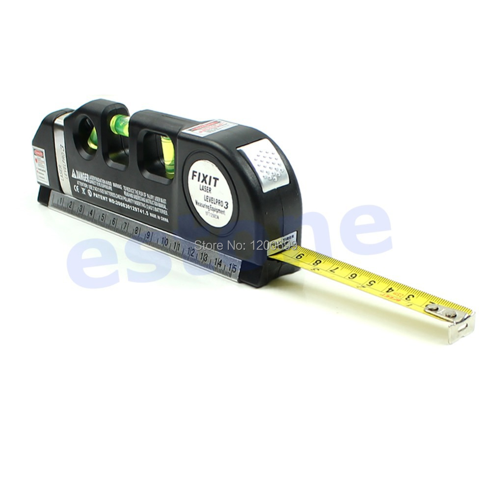 F98 hot selling Level Laser Horizon Vertical Measure Tape Aligner Bubbles Ruler 8FT Multipurpose free shipping