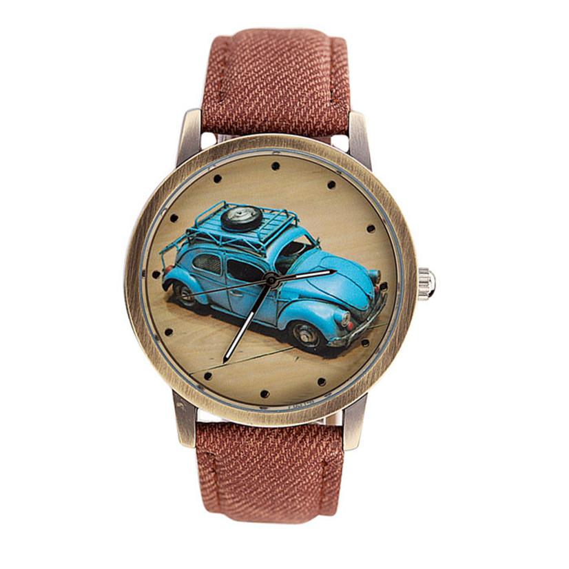 Hot Marketing 2016 New Fashion Men And Women Retro Car Pattern Denim Twill Strap Watch MAY17(China (Mainland))