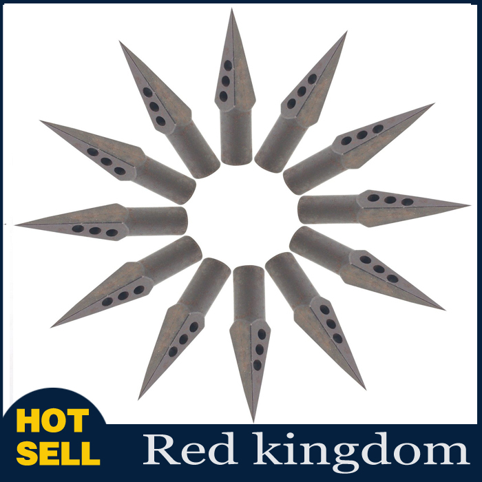 New 12pcs lot Medieval Metal Broadheads Arrow Heads Tips 125 Grain Fletching Archery For Wooden Arrows
