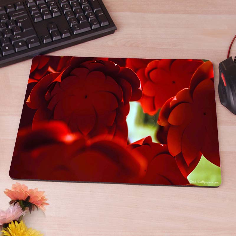 red paper flowers Anti-slip Mouse Pad Fashion Slim Pads Mice Mat(China (Mainland))
