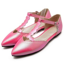 Woman Shoes Spring Summer 2016 Pointed Toe Flats Soft Fashion T-Strap Slip Ballerina Candy Color Size 45 Zapatos Mujer - ZOEYUAI Store store