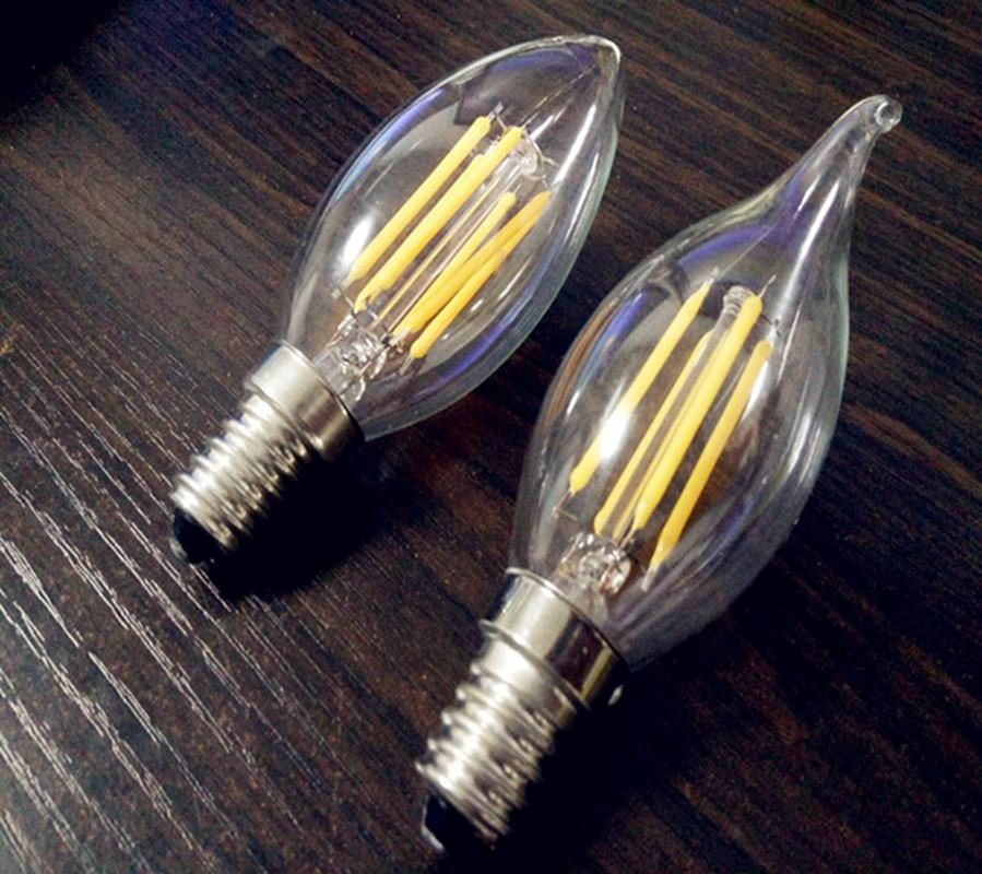 Free Shipping 1PC High Lumen C35 E14 LED Filament Candle Bulb Clear Lamp 2W/4W/6W 110V/220V Cold/Warm White 360 DEG(China (Mainland))