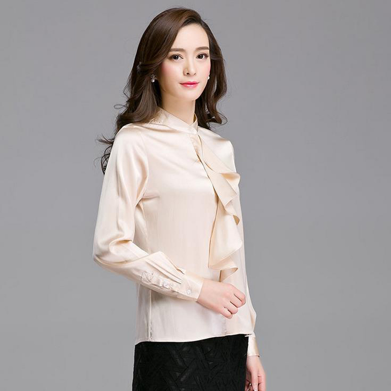 2016 Womens 100% Real Silk Shirt Long Sleeve chemise femme Slim Business Formal Tops Blouse S/M/L/XL/XXL Solid camisa feminina