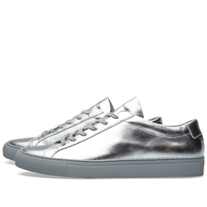 Фотография Original Italy Common Projects Women Men Shoes Spring Autumn Low Top Silver Genuine Leather Sheepskin Casual Shoes Argento Femme