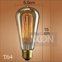 industrial t64 vintage light bulb decoration style pendant light bar table single head,Edison carbon filament light bulb(China (Mainland))
