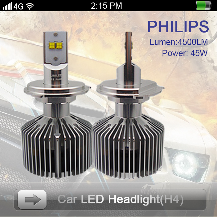 Style Car LED Headlight H4 High Low Beam Power 45W 6000K Great Brightness 4500LM Lamp Model Brighter HID - Shenzhen Prime Digital Company Ltd. store