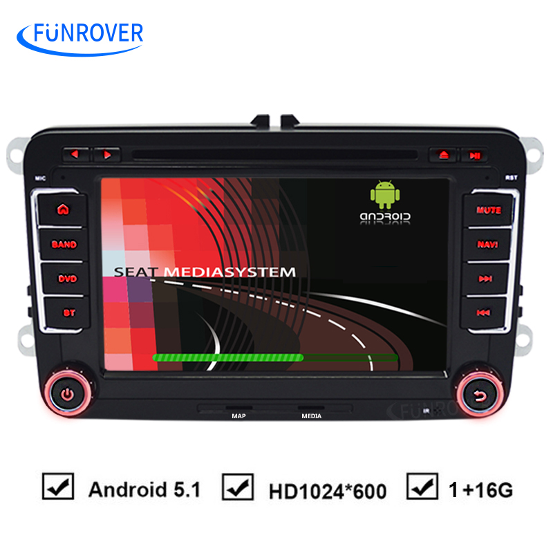 FUNROVER Quad-core HD FullTouch for VW Android 5.1 Car DVD GPS DVR For Volkswagen Passat B6 POLO GOLF 5 6 JETTA for seat leon(China (Mainland))