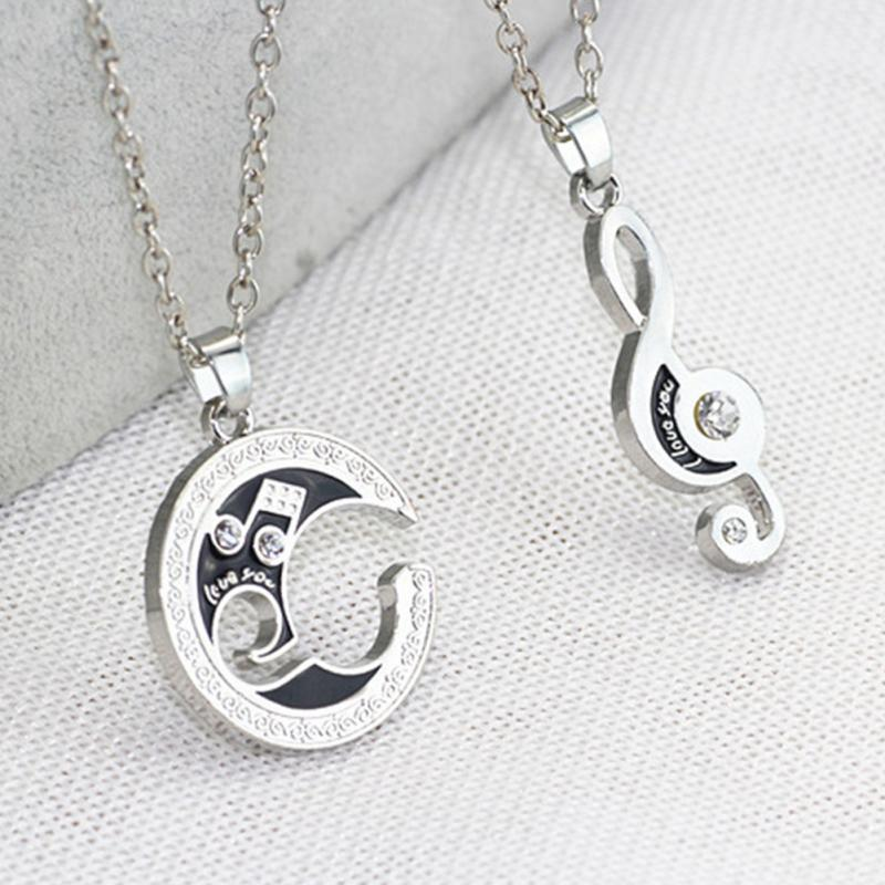 Rhinestone Moon Music Notes Necklace Moon Jewelry Natural Stone Crystal Tourmaline Necklace Pendant For Women(China (Mainland))