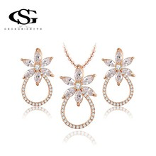 G&S Brand New Year Gift Exquisite Necklace Rose Gold Plated CZ Crystals Fashion Environmental Fruits Jewelry Set(China (Mainland))