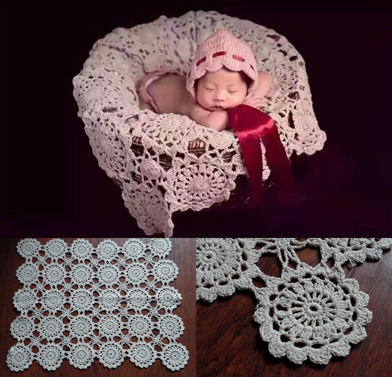 Crochet Baby Blankets Newborn Photography Props,Rosette Wrap Baby Pattern Knitted,#P0240(China (Mainland))